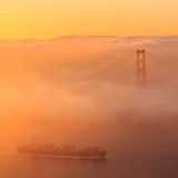 Low fog at Golden Gate Bridge San Francisco Stock Image