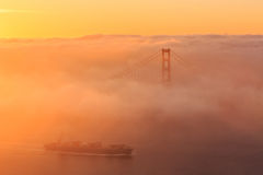 Low fog at Golden Gate Bridge San Francisco Royalty Free Stock Images