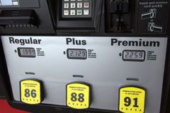 Low Gas Prices at the Pump. Regular is below $2.00 a gallon royalty free stock photo