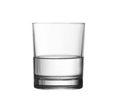 Low half full glass of water isolated with clipping path Stock Image