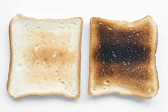 Low and hard fried. Toasts isolated on white Royalty Free Stock Photos