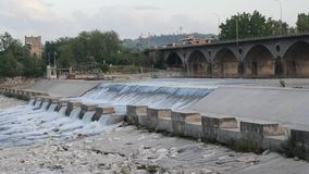 Low head dam - Weir on Secchia River. Near Sassuolo n- Modena - footage taken on 04 29 2018 stock video footage