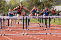 Low Hurdles at the Track Meet Stock Photo