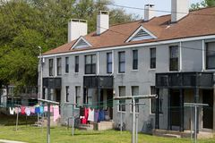 Low Income Housing. Units with clothes drying on the line for people qualifying for financial assistance Stock Images