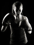 Low key female boxer Royalty Free Stock Photography
