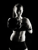 Low key female boxer Royalty Free Stock Image