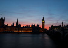 Low key Houses of Parliament. Big Ben and the houses of parliament at dusk Royalty Free Stock Image