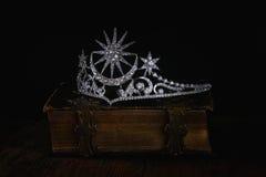 Low key image of beautiful diamond queen crown Stock Image