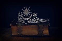 Low key image of beautiful diamond queen crown Stock Photo