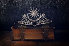 Low key image of beautiful diamond queen crown Royalty Free Stock Images