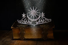 Low key image of beautiful diamond queen crown Stock Photography