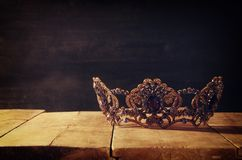 Low key image of beautiful queen/king crown. fantasy medieval period. Selective focus. Low key image of beautiful queen/king crown. fantasy medieval period stock photos