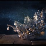 Low key image of beautiful queen/king crown. fantasy medieval period. Selective focus. Low key image of beautiful queen/king crown. fantasy medieval period royalty free stock image