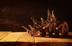 Low key image of beautiful queen/king crown. fantasy medieval period. Selective focus. Low key image of beautiful queen/king crown. fantasy medieval period stock image