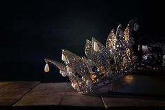 Low key image of beautiful queen/king crown. fantasy medieval period. Selective focus. Low key image of beautiful queen/king crown. fantasy medieval period royalty free stock photos