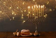Low key Image of jewish holiday Hanukkah Stock Images