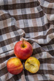 Low key image of red apples over wodden cotton  textured table Stock Image