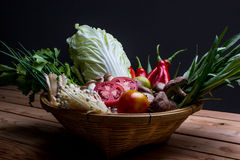 Low key of Ingredients of Thai spicy food Stock Image