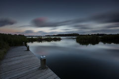 Low Key Night Lake In Long Exposure Stock Image