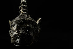 Low key photography of Hua Khon (Thai traditional Mask) on black Royalty Free Stock Image