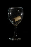 Low Key Wine Glass and Cork Royalty Free Stock Photos
