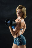Low key silhouette of a fitness young woman. boobs Royalty Free Stock Image