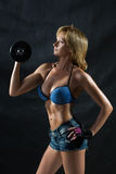 Low key silhouette of a fitness young woman. boobs Royalty Free Stock Images
