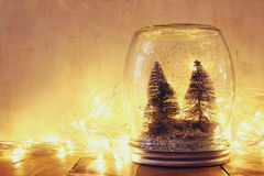 Low key and vintage filtered image of christmas trees in mason jar with garland warm lights and glitter overlay. selective focus Royalty Free Stock Photos