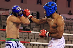 Low kick kickboxing. Paul Versayo from France and David Meduna from Czech Republic in low kick discipline within world kickboxing championship held in Prague on Stock Images