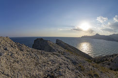 The low late afternoon sun over the coastal mountains. Crimea, S Stock Photos