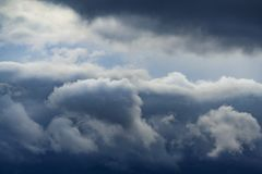 Low leaden storm clouds in the sky. Abstract, background Royalty Free Stock Photos