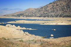 Low level lake. Drought in California - low level of Lake Isabella in Kern County. United States landscape royalty free stock photos