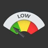 Low level risk gauge vector icon. Low fuel illustration on black background Stock Images