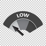 Low level risk gauge vector icon. Low fuel illustration on isola Stock Images
