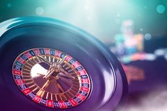 Colorful casino roulette chips of poker. stock image