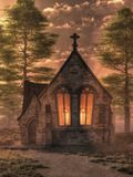 A Chapel in the Evening vector illustration
