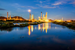 Low light long exposure scenery of Oil refinery plant Stock Images