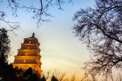 Low light scenery of big wild goose pagoda,Xian,China stock image