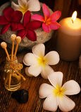 Low light spa massage setting. At sunset with candlelight royalty free stock photos