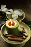 Low light spa setting indoor with candle Stock Images