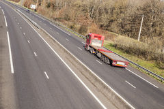Low loader on French highway. Royalty Free Stock Image