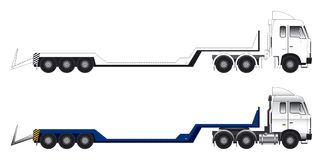 Low loader long vehicle vector. Side view of a long low loader truck in colour and outline vector illustration royalty free illustration