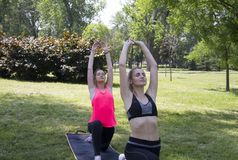 Low Lunge -Anjaneyasana.Yoga.Novi Sad,Liman Park.Serbia. royalty free stock photos