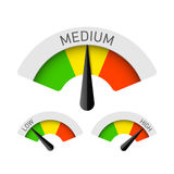 Low, Medium and High gauges. Illustration Stock Photo