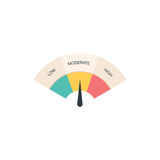 Low, Moderate and High gauges. Colorful illustraion Stock Photos