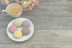 Low opacity of macaron greeting card and background royalty free stock photo