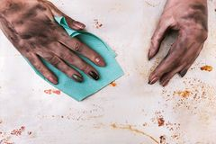 Low-paid job profession dirty woman hand cleaning Royalty Free Stock Photography