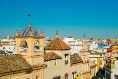 Low panoramic skyline view of Seville, Andalusia, Spain. Low panoramic skyline view Seville, Andalusia, Spain stock image