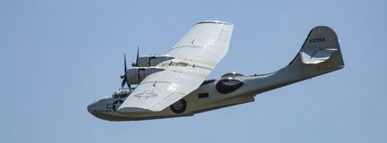 Canadian Vickers PBY-5A Canso Catalina amphibian aircraft in Goraszka in Poland. Low pass of Canadian Vickers PBY-5A Canso Catalina amphibian aircraft in Stock Photography