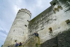 Hohensalzburg Fort and castle sits atop the Festungsberg, a smal Royalty Free Stock Photo